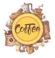 coffee hand drawn design with beans vector image vector image