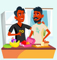 couple of young teen gays cooking food together in vector image