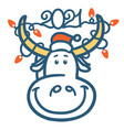 cute cartoon bull head with winter holiday lights vector image
