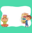 cute kids with books blank banner vector image vector image