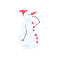 cute thoughtful snowman character christmas and vector image vector image