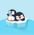 cute two penguin sleep on ice floe vector image vector image