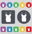dress icon sign A set of 12 colored buttons Flat vector image vector image