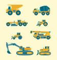 flat set construction vehicles icons vector image