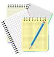 four notebooks and blue pencil vector image vector image