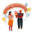 giving present birthday party greeting banner vector image