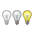glowing light incandescent bulb vintage vector image vector image