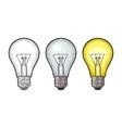 glowing light incandescent bulb vintage vector image