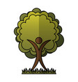 human figure with tree plant ecological icon vector image vector image
