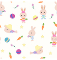 Kids cute seamless pattern with bunnies on white vector image