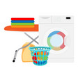 laundry in washing machine and basket indoors vector image vector image