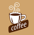 logo cup of coffee and steam vector image vector image