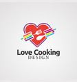 loving cooking with colorful concept logo icon vector image vector image
