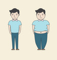 man slim fat cartoon vector image