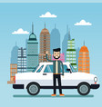 man white car city background vector image
