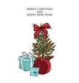 Merry christmas card with present near fir