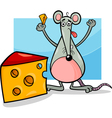 mouse with cheese cartoon vector image vector image