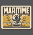 nautical diving aqualung helmet and anchors vector image