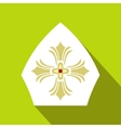 Papal tiara hat with cross icon flat style vector image vector image
