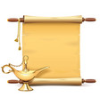 paper scroll with magic lamp vector image vector image