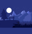 park bench in the night coniferous forest vector image