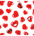 pattern with red hearts with smiley faces vector image vector image