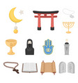 religion and belief cartoon icons in set vector image vector image