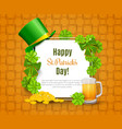 saint patricks day card with treasure of vector image