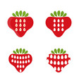 set abstract icons strawberry vector image vector image
