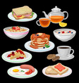 set of breakfast icons sandwich tea coffee with vector image