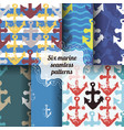 set of marine seamless patterns vector image vector image