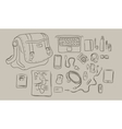 sketch of things inside bag from laptop to vector image vector image