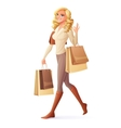 smiling woman walking with shopping bags vector image vector image