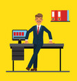 successfull businessman standing near office table vector image