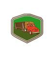 Truck Vintage Logging Shield Retro vector image vector image