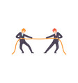 two businessmen pulling opposite ends rope vector image vector image