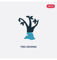 two color tree growing icon from nature concept vector image vector image