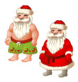 two figures santa claus dressed and underpants vector image vector image