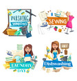 washing window cleaning sewing laundry service vector image