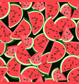 watermelon red pulp with seeds seamless background vector image vector image