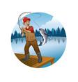 old man cartoon fishing trout fish vector image