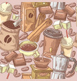 coffee hand drawn seamless background with beans vector image