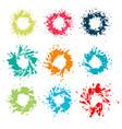 9 colorful paint splatters set - eps design vector image