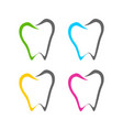 abstract dental tooth line art icons vector image