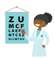 african-american ophthalmologist with eye chart vector image