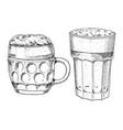 beer glass mug or bottle oktoberfest engraved vector image