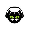black cat with headphones logo vector image vector image