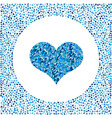 blue heart made of pixels and little hearts around vector image vector image