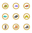 boot icons set cartoon style vector image vector image