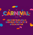 carnival font and alphabet hand lettering vector image vector image